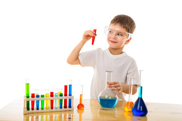 Boy making chemical experiment