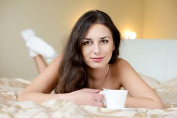 brunette enjoying coffee