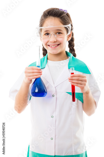 Girl holding chemical flask