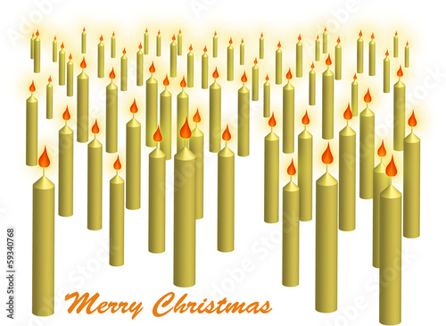 Crowd of yellow christmas candles