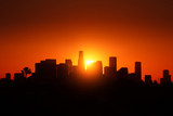 Los Angeles city skyline sunrise.