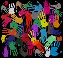 impronta di mani su sfondo nero