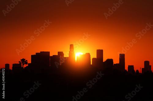 Fotobehang Los Angeles Los Angeles city skyline sunrise.