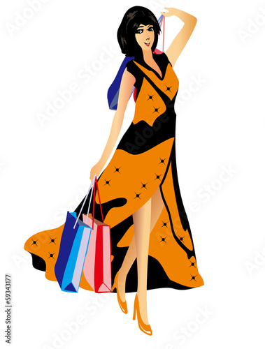 Beautiful sexy woman with shopping bags