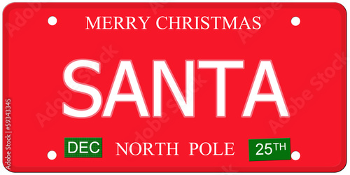 Santa North Pole License Plate