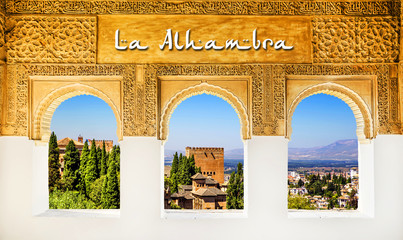 The Alhambra Palace banner, Granada, Spain.