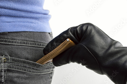 money thief stealing a woman