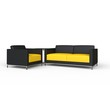 Black And Yellow Sofa And Armchair Set