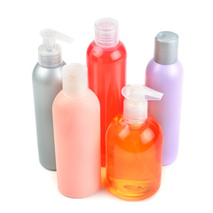 shampoo bottles and soap dispensers