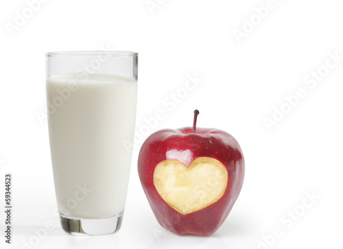 Glass of milk and an apple