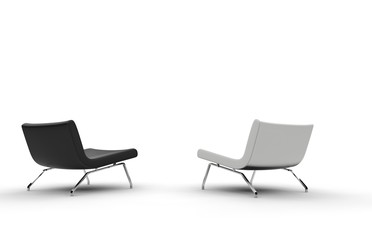 Black And White Armchairs Back View