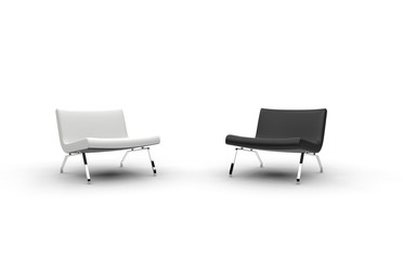 White And Black Armchairs Front View