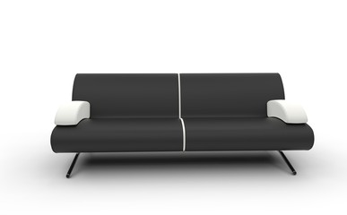 Black Sofa With White Pillows