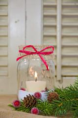Christmas jar with candle