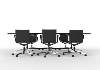 Black Business Meeting Table with Chairs