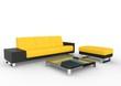 Black And Yellow Modern Sofa And Coffee Table