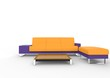 Modern Orange And Violet Sofa