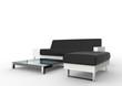 Modern Black Sofa And Ottoman
