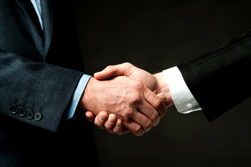 Business handshake on black background