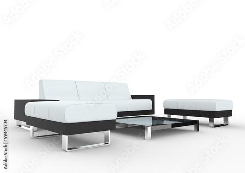 White Modern Living Room Seating Set