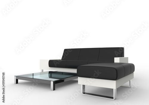 Modern Black Sofa And Ottoman