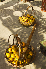 persimmons in baskets