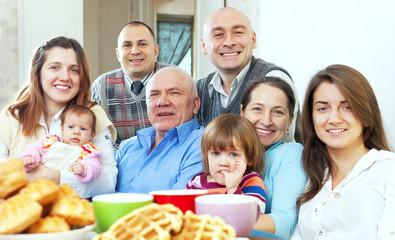 happy large three generations family
