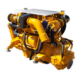 Yellow engine. Isolated over white