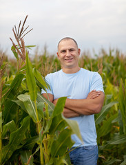 Happy  farmer in field