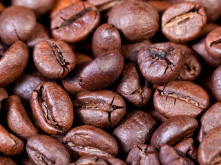dark roasted coffee beans close up