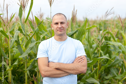 agriculturist in field of corn