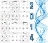 Beautiful New Year 2014 calendar vector design