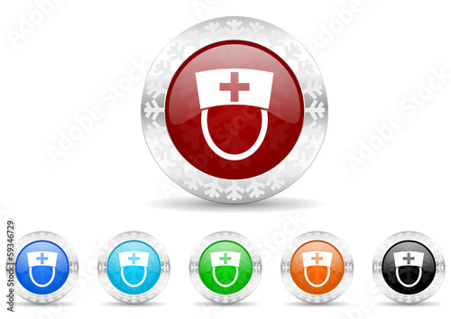 nurse icon christmas vector set