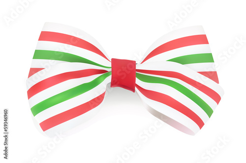 Tri-color Striped bow. Vector illustration
