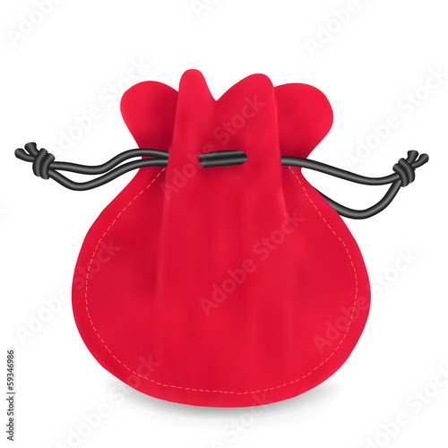 Red velvet sack. Vector illustration