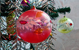 Christmas tree ornaments, garlands and colorful lights.