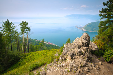 Scenic landscape at the Baikal lake