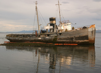 Stranded ship in Beagle Channel, Argentina