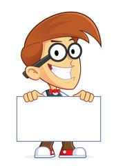 Nerd Geek Holding Sign
