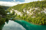 Three big lakes in Plitvice National Park canyon