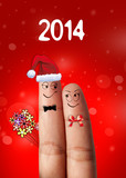 a couple of fingers in love for the new year 2014