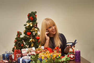 pretty girl gets a precious christmas gift and thanks on phone