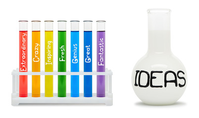 Concept of creativity with colored flasks.