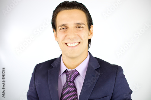 Friendly handsome man smiling happy