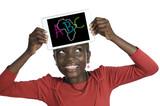 Fototapety Afrikanisches Mädchen mit Minitablet ABC