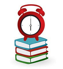 Clock and books - vector