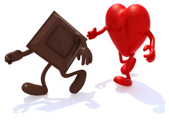 block chocolate chased by heart