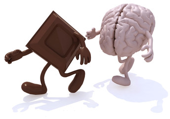 block chocolate chased by human brain