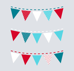 Cute Christmas bunting or flags ( red and blue )