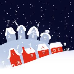 Winter Christmas snowing village